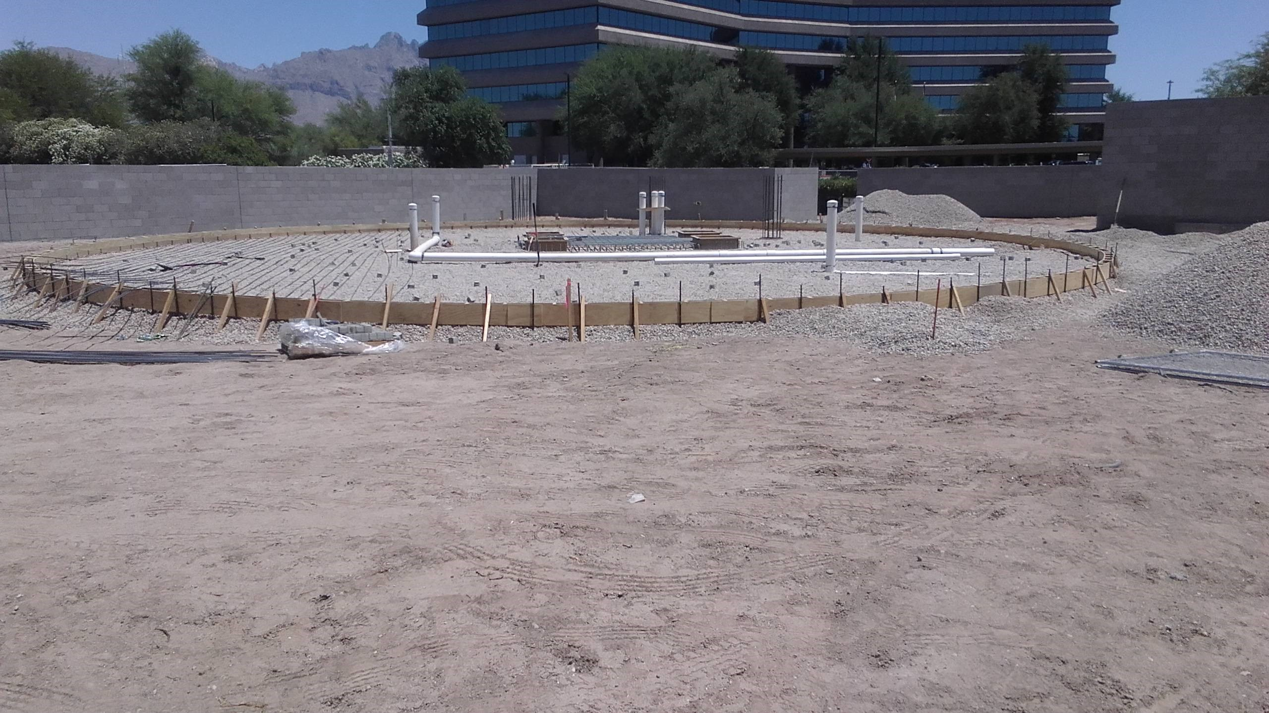 Forms before concrete is poured for the splash pad
